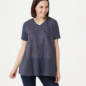 LOGO Lavish by Lori Goldstein Cotton Modal Top wit